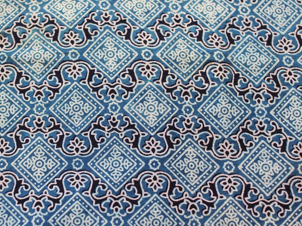 Indigo Blue Hand Block Printed Fabric With Diamond Design